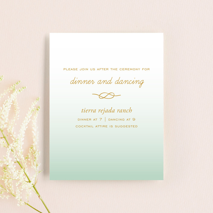 """""""Simple Knot"""" - Reception Cards in Mint by SimpleTe Design."""