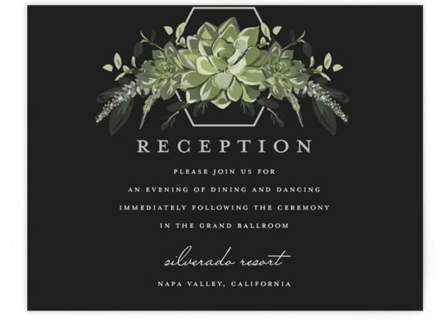 This is a botanical, painterly, black, green Reception Cards by Susan Moyal called Echeveria with Standard printing on Signature in Card Flat Card format. This wedding invitation features some blue rose succulents and greenery
