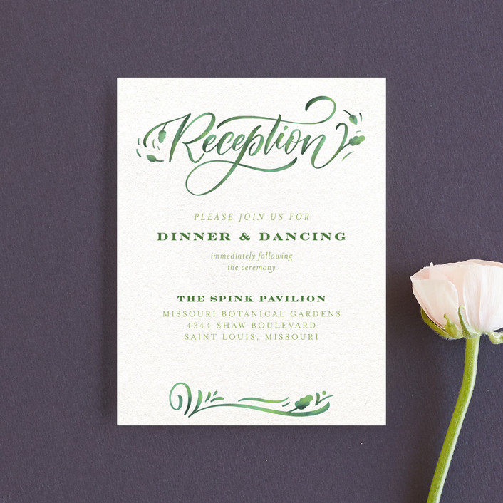 """Growing Ampersand"" - Reception Cards in Ivory by Laura Bolter Design."