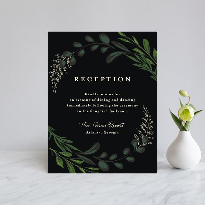 """""""Agave & Greens"""" - Reception Cards in Midnight by Susan Moyal."""