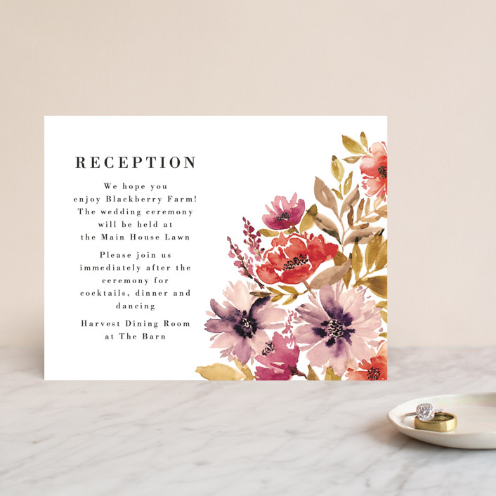 """""""Autumn Vows"""" - Reception Cards in Burnt Orange by Chris Griffith."""