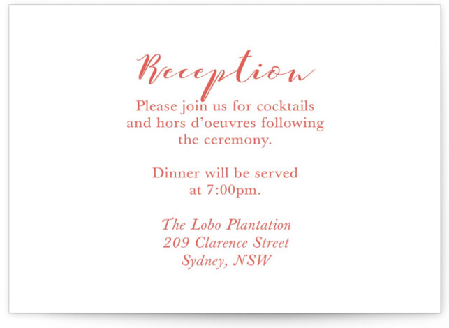 This is a simple and minimalist, red Reception Cards by Hudson Meet Rose called Wedding Stamp with Standard printing on Signature in Card Flat Card format. This wedding invitation features a kraft background with classic fonts.
