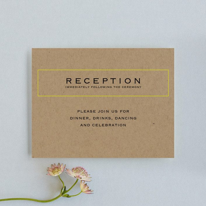 """Vintage Kraft"" - Modern Reception Cards in Chartreuse by Waldo Press."
