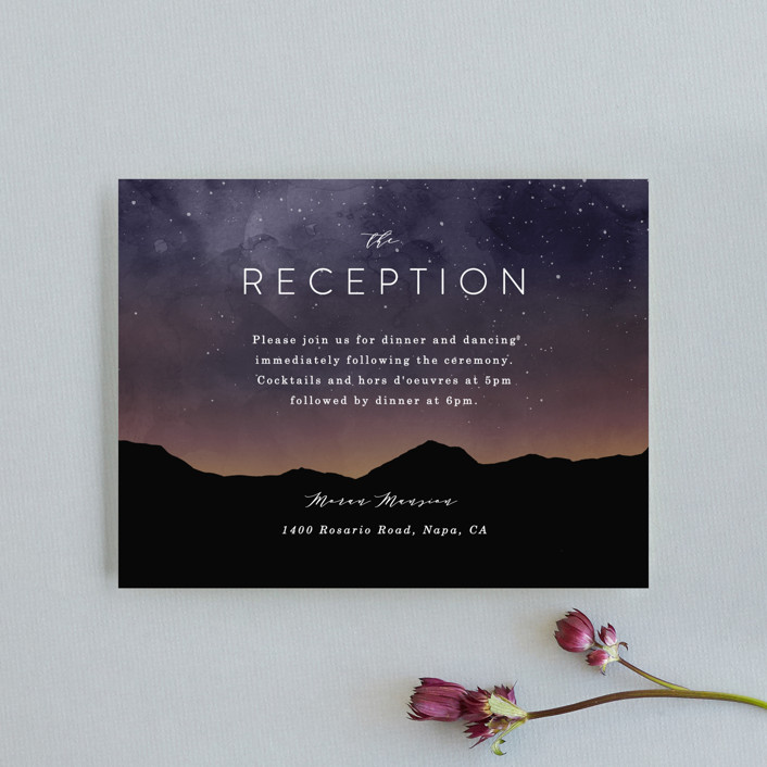"""""""Starry Skies"""" - Rustic Reception Cards in Twilight by Kelly Schmidt."""