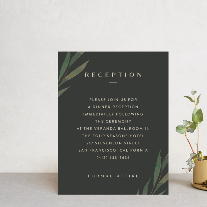 """""""Modern Leaves"""" - Reception Cards in Smoked by Four Wet Feet Studio."""