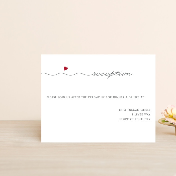 """""""Love Connection"""" - Modern, Simple Reception Cards in Red Hot by Kim Dietrich Elam."""