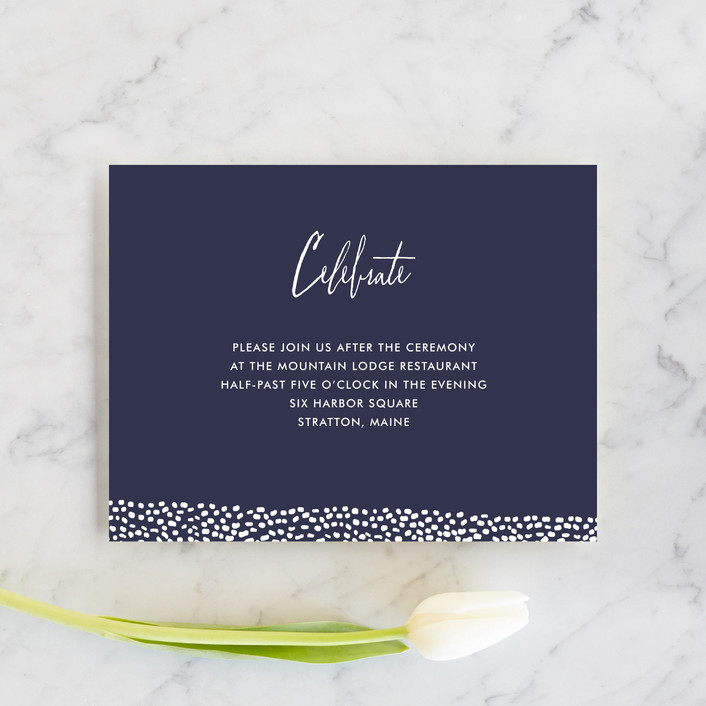 """Sprinkled Love"" - Elegant, Modern Reception Cards in Navy by Paper Dahlia."