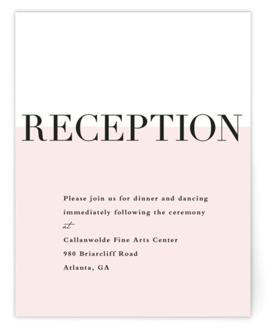 This is a portrait modern, preppy, pink Reception Cards by Stacey Meacham called So Fresh with Standard printing on Signature in Card Flat Card format. Large names in classically set type with a half wall of color used to ground ...