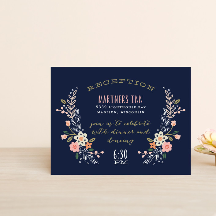 """Wildflower Crest"" - Floral & Botanical Reception Cards in Navy by Alethea and Ruth."