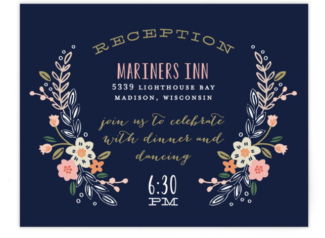 This is a landscape botanical, rustic, blue Reception Cards by Alethea and Ruth called Wildflower Crest with Standard printing on Signature in Card Flat Card format. This wedding invitation features a wildflower wreath surrounding the bride and groom's names.