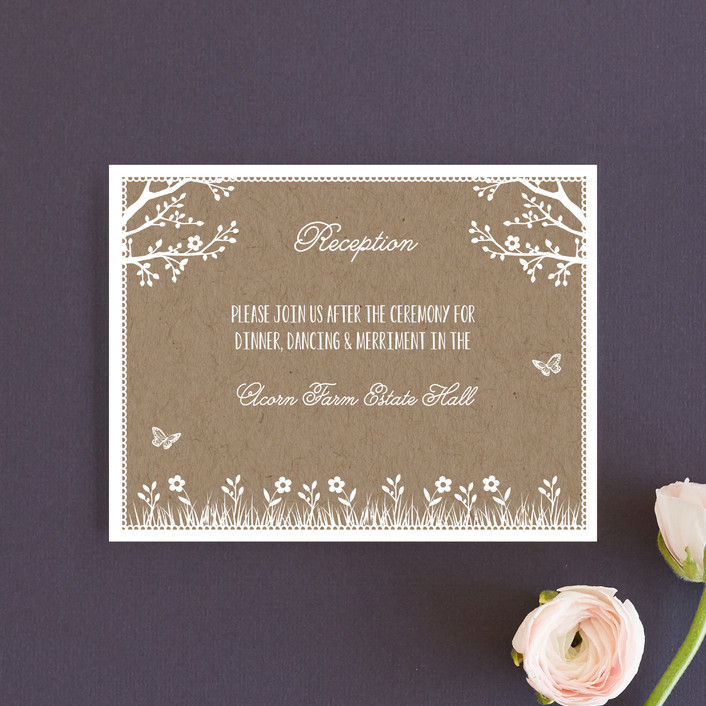 """""""Kraft Woodland Tree"""" - Rustic, Funny Reception Cards in Buckwheat by Coco and Ellie Design."""