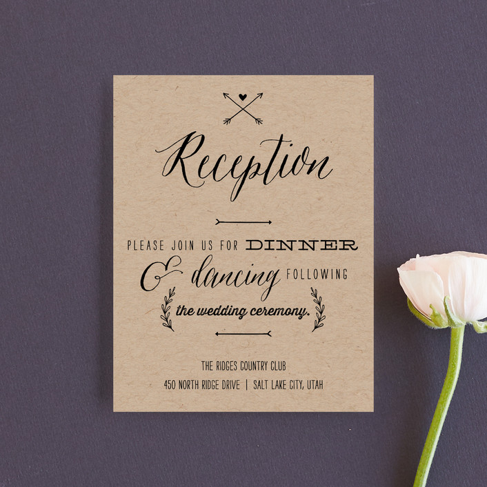 """With Joy"" - Bold typographic, Modern Reception Cards in Bowtie by Eric Clegg."