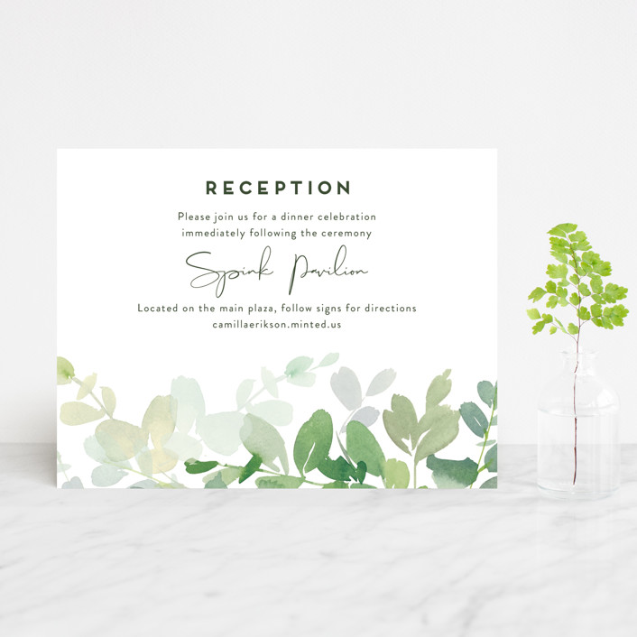 """Soft Eucalyptus"" - Reception Cards in Garden by Yao Cheng Design."