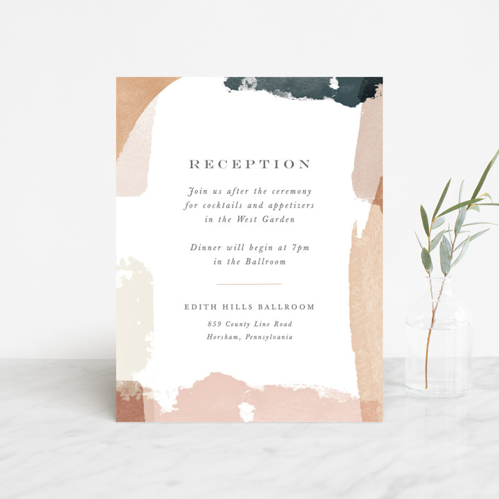 """""""Overlapping"""" - Modern Reception Cards in Blush by Jennifer Wick."""