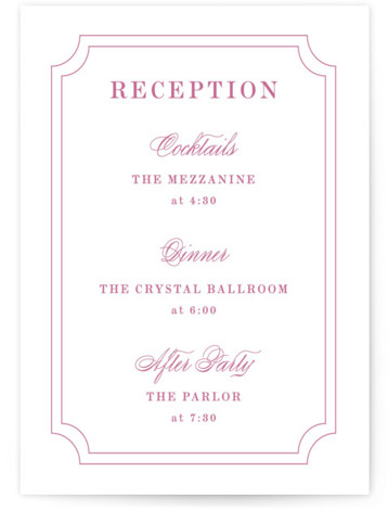 This is a classic and formal, monogram, simple and minimalist, pink Reception Cards by Kimberly FitzSimons called Framed Details with Standard printing on Signature in Card Flat Card format. A simple and lovely wedding invitation design with a traditional border ...