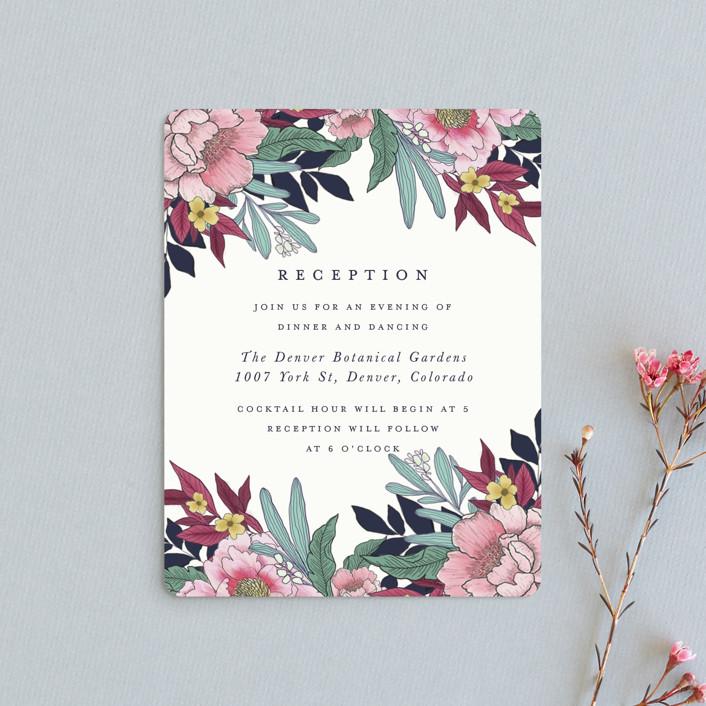 """""""Vintage Boughs"""" - Reception Cards in Merlot by Grace Kreinbrink."""