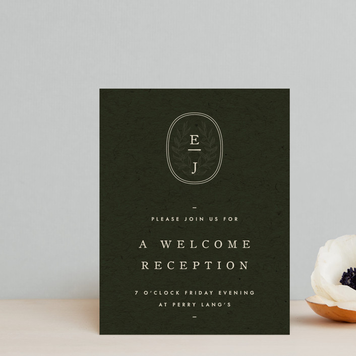 """""""delicate seal"""" - Bohemian, Modern Reception Cards in Olive by Lindsay Stetson Thompson."""
