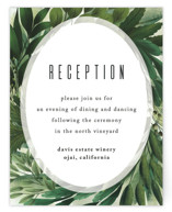 This is a green reception card by Susan Moyal called Fresh Greens with standard printing on signature in standard.