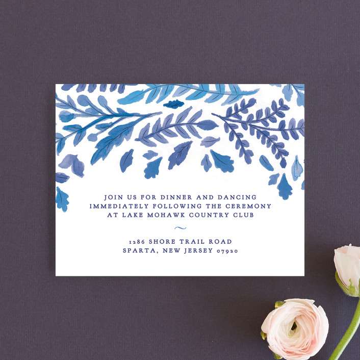 """China Plate"" - Reception Cards in Royal Blue by Ariel Rutland."