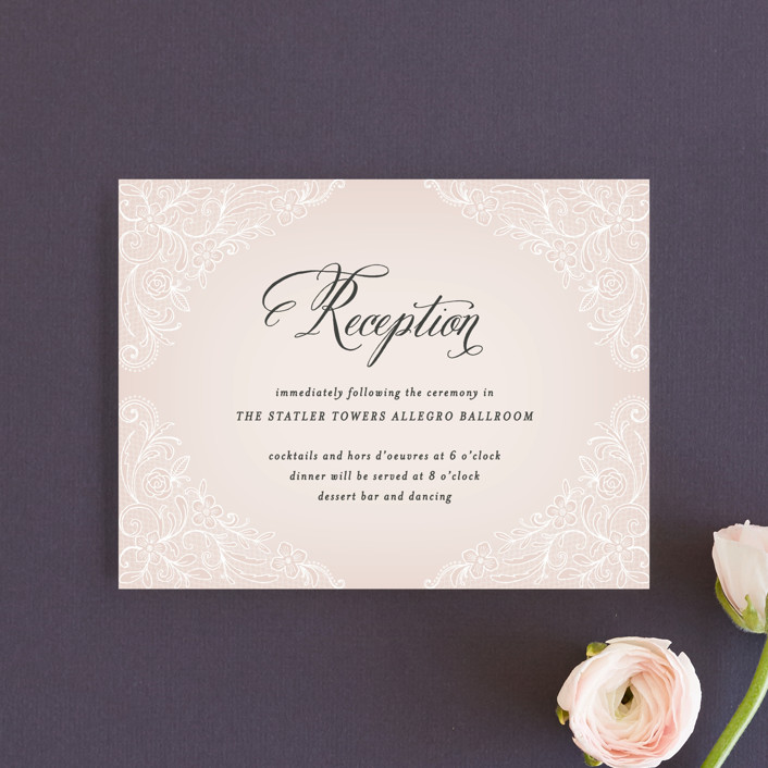 """Elegant Lace"" - Elegant, Vintage Reception Cards in Blush by Hooray Creative."