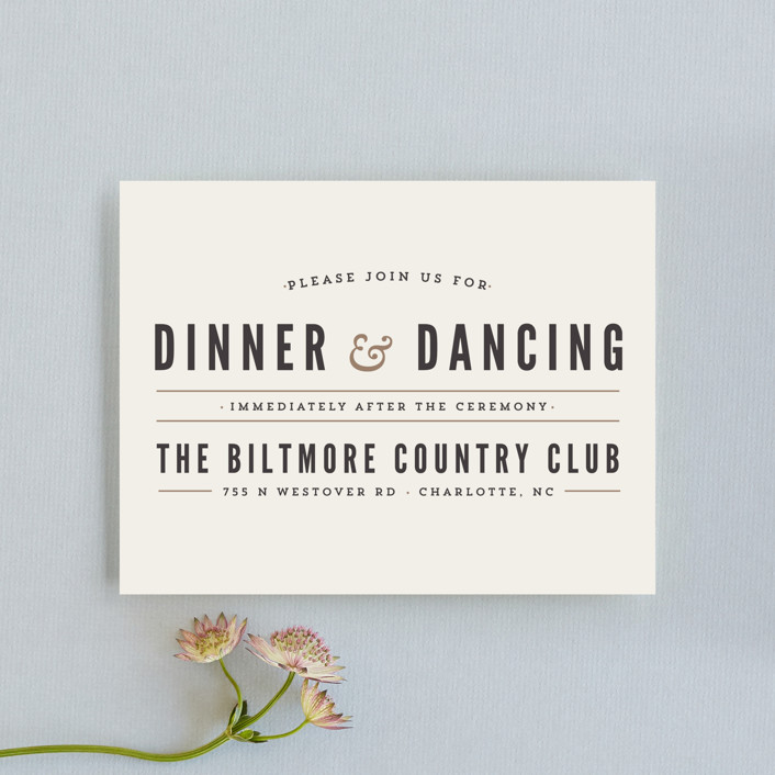"""""""Classic Type"""" - Simple, Bold typographic Reception Cards in Mocha by Pistols."""