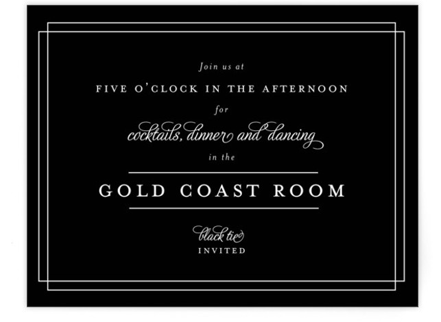 This is a landscape classical, traditional, black and white Reception Cards by Kimberly FitzSimons called Chic Gala with Standard printing on Signature in Card Flat Card format. A traditional wedding invitation with clean typography that is easily customizable.