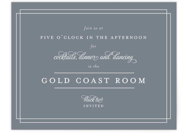 This is a landscape classical, traditional, grey Reception Cards by Kimberly FitzSimons called Chic Gala with Standard printing on Signature in Card Flat Card format. A traditional wedding invitation with clean typography that is easily customizable.
