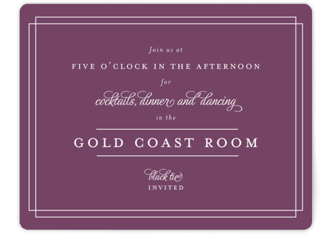 This is a landscape classical, traditional, purple Reception Cards by Kimberly FitzSimons called Chic Gala with Standard printing on Signature in Card Flat Card format. A traditional wedding invitation with clean typography that is easily customizable.