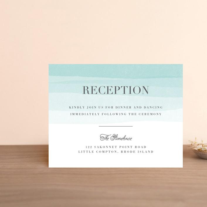 """Old Post Road"" - Beach, Elegant Reception Cards in Sea Salt by Jennifer Wick."
