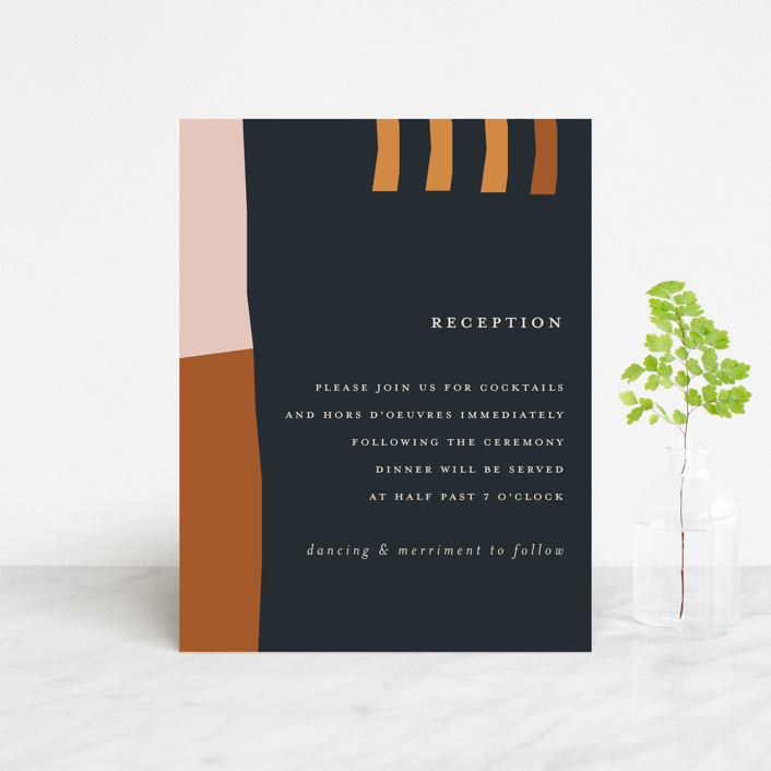 """""""Color Block"""" - Modern Reception Cards in Peach by Morgan Kendall."""