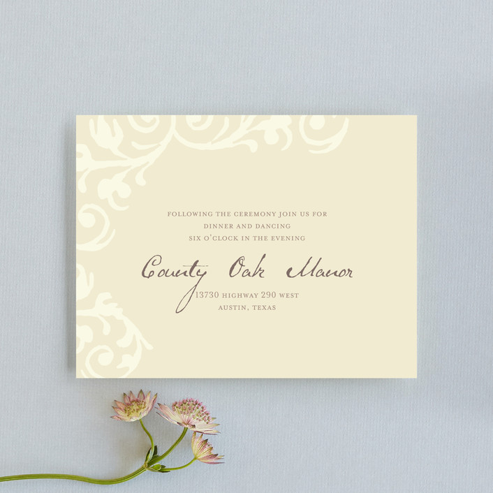 """Elegant Flourish"" - Vintage Reception Cards in Pale Yellow by Guess What Design Studio."