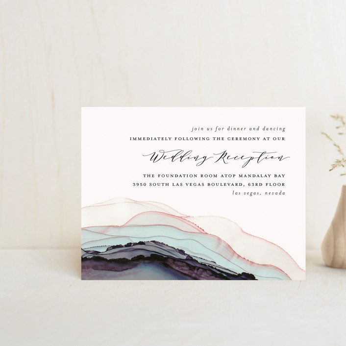 """""""Flow"""" - Bohemian Reception Cards in Emerald by Three Kisses Studio."""