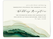 This is a green reception card by Three Kisses Studio called Flow with standard printing on signature in standard.