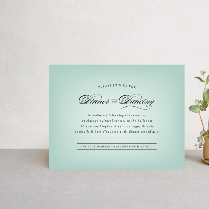 """""""Big City - Chicago"""" - Reception Cards in Mint Green by Hooray Creative."""