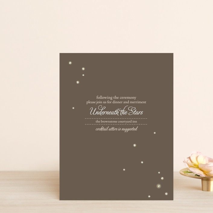 """Fireflies"" - Rustic, Hand Drawn Reception Cards in Zuni Brown by Paige Rothhaar."