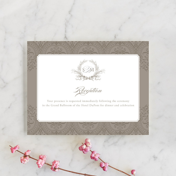 """Formalities"" - Classical Reception Cards in Warm grey by Milkmaid Press."