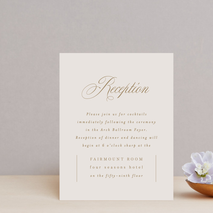 """""""Emblem"""" - Reception Cards in Champagne by Everett Paper Goods."""