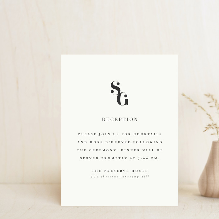 """""""Modern Initials"""" - Reception Cards in Buttercream by Lori Wemple."""