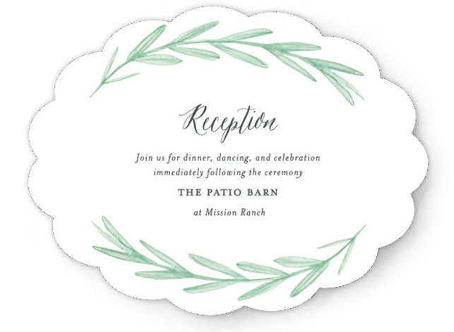 This is a landscape botanical, white, grey, green Reception Cards by Olivia Raufman called Painted Leaves with Standard printing on Signature in Card Flat Card format. A clean, organic invitation with watercolor leaves and classic type.