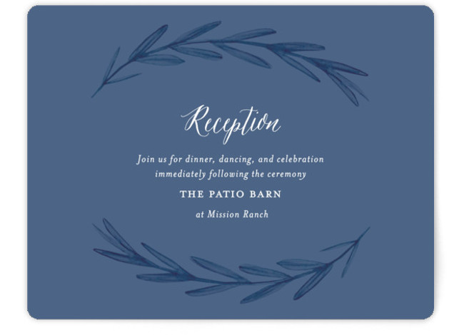 This is a landscape botanical, blue, ivory, white Reception Cards by Olivia Raufman called Painted Leaves with Standard printing on Signature in Card Flat Card format. A clean, organic invitation with watercolor leaves and classic type.