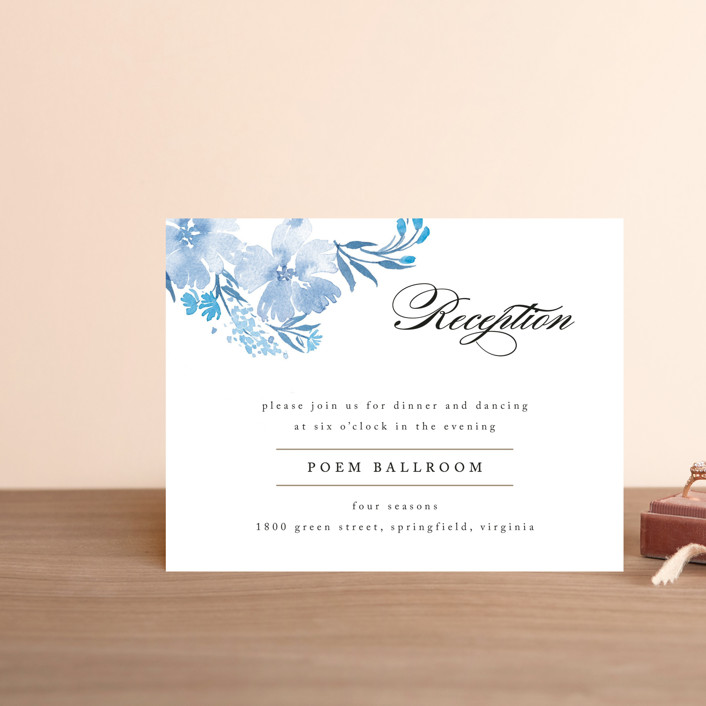 """""""Poetic Blue"""" - Floral & Botanical Reception Cards in Sky by Qing Ji."""