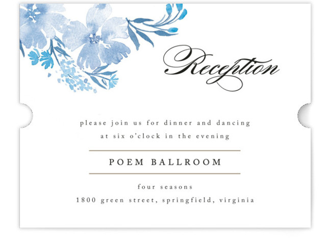 This is a landscape floral, blue, white Reception Cards by Qing Ji called Poetic Blue with Standard printing on Signature in Card Flat Card format. This beautiful and modern design features hand painted watercolor flowers in various shades of blue. ...