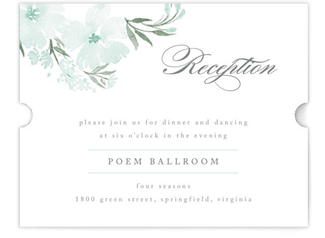 This is a landscape floral, green, grey Reception Cards by Qing Ji called Poetic Blue with Standard printing on Signature in Card Flat Card format. This beautiful and modern design features hand painted watercolor flowers in various shades of blue. ...