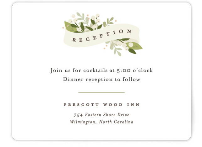 This is a landscape floral, rustic, beige Reception Cards by Jennifer Wick called Ribbonly with Standard printing on Signature in Card Flat Card format. A soft ribbon beautifully folded housing all the couple's wedding details and beautiful greens.