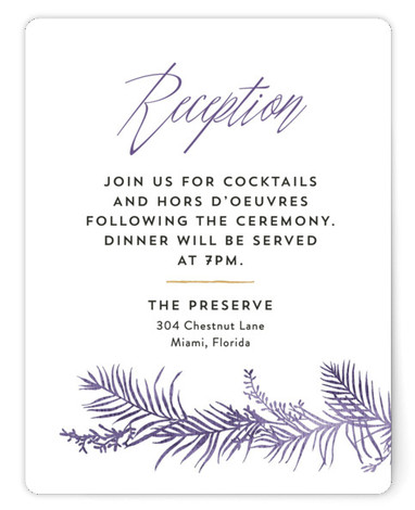This is a botanical, purple Reception Cards by Pink House Press called Destination with Standard printing on Signature in Card Flat Card format. With watercolor palms surrounding modern type, this wedding invitation would be perfect for a tropical or destination ...