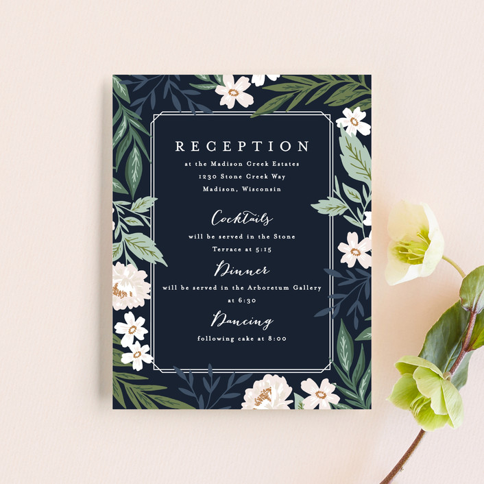 """Floral Edged Frame"" - Reception Cards in Royal by Alethea and Ruth."