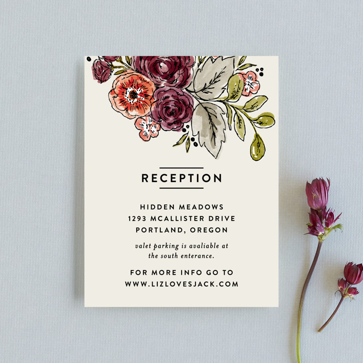 """""""Dahlia Bouquet"""" - Reception Cards in Wine by Alethea and Ruth."""