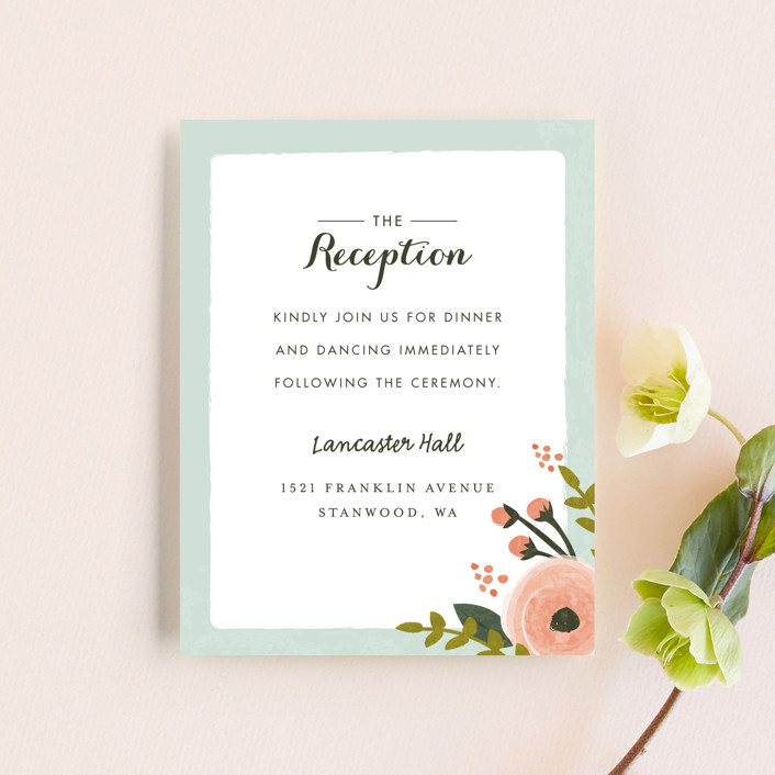 """""""English Floral Garden"""" - Floral & Botanical Reception Cards in Peony by Karidy Walker."""