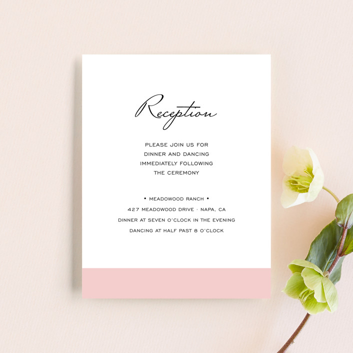 """Romantic Frame"" - Reception Cards in Soft Petal by SimpleTe Design."