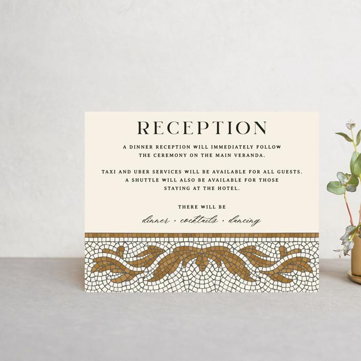 """Floral mosaic"" - Vintage Reception Cards in Sand by GeekInk Design."